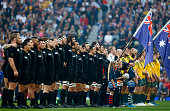 The New Zealand team sing their national anthem ahead of the 2015 Rugby World Cup Final match between New Zealand and Australia at Twickenham Stadium...