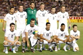 The New Zealand U23 team players line up for a team photograph prior to the international friendly match between Japan U23 and New Zealand U23 at the...