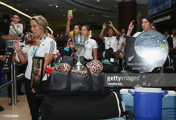 The New Zealand Woman's Sevens squad arrives at Auckland International Airport on July 3 2013 in Auckland New Zealand New Zealand won the Rugby World...