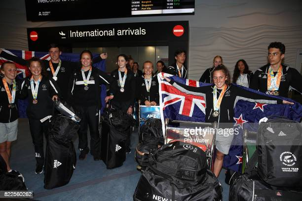 The New Zealand Youth Commonwealth Games team arrive back from the Bahamas Youth Commonwealth Games at the Auckland International Airport on July 26...