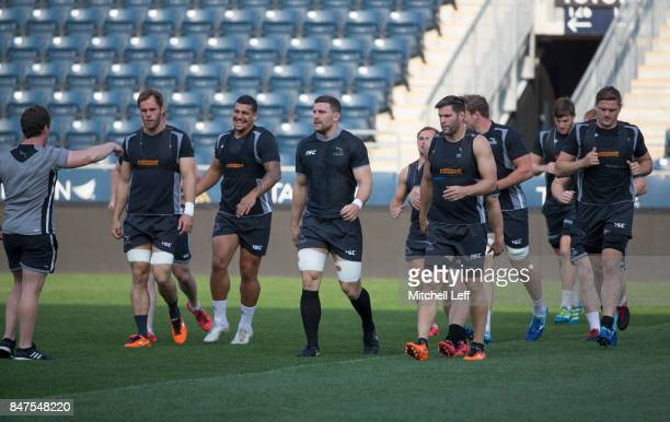 The Newcastle Falcons warm up during practice at Talen Energy Stadium on September 15 2017 in Philadelphia Pennsylvania