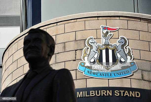 The Newcastle United logo outside St James Park before the Barclays Premier League match between Newcastle and Crystal Palace at St James Park on...