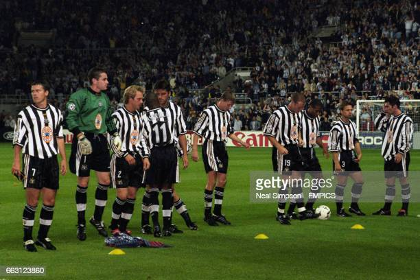 The Newcastle United players lining up before the kick off Rob Lee Shay Given Warren Barton Faustino Asprilla Philippe Albert Jon Dahl Tomasson Steve...