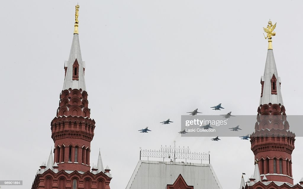 The newest bombers Su-34, older ones Su-24 all protected by jet fighters Su-27 and MiG-29. Russian military forces train for the Victory Day parade that will take place on 9 May 2010 marking the 65th anniversary of the Second World War. on May 06, 2010