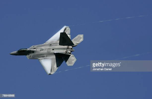 The newest fighter in the US Air Force arsenal the F22 Raptor flys over the crowd during the Experimental Aircraft Association's 2007 AirVenture...