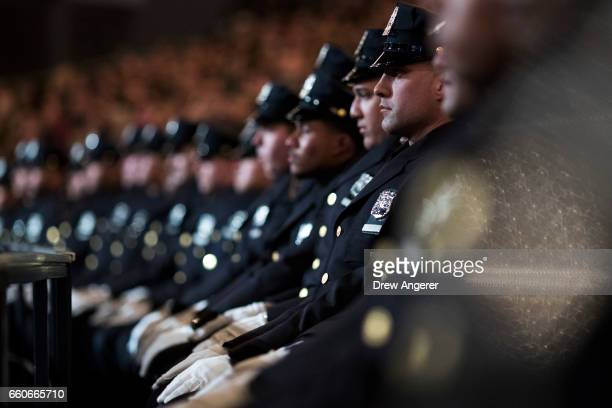 The newest members of the New York City Police Department listen to remarks from New York City Police Commissioner James O'Neill during their police...