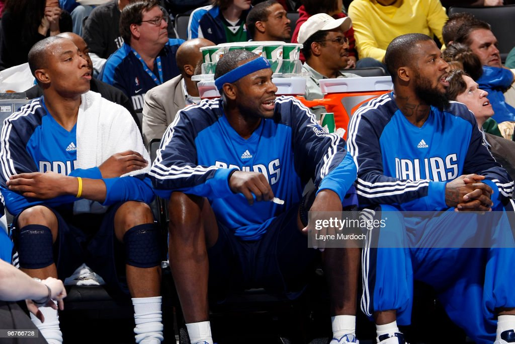 The newest members to the Dallas Mavericks team, Caron Butler #4, Brendan Haywood #33, and DeShawn Stevenson #94 watch the game against the Oklahoma City Thunder on February 16, 2010 at the Ford Center in Oklahoma City, Oklahoma.