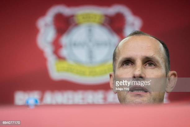 The newly appointed head coach of Bayer Leverkusen Heiko Herrlich speaks during a press conference at BayArena on June 9 2017 in Leverkusen Germany