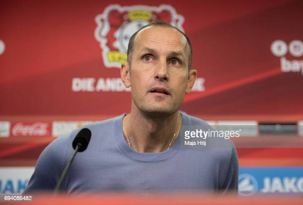 The newly appointed head coach of Bayer Leverkusen Heiko Herrlich looks on during a press conference at BayArena on June 9 2017 in Leverkusen Germany