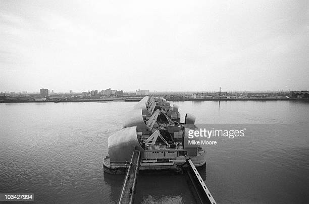 The newly completed Thames Barrier in London on April 10 1984 The flood barrier was officially opened by Queen Elizabeth II the following month
