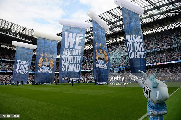 The newly constructed South Stand of The Etihad stadium is officially unveiled before the English Premier League football match between Manchester...