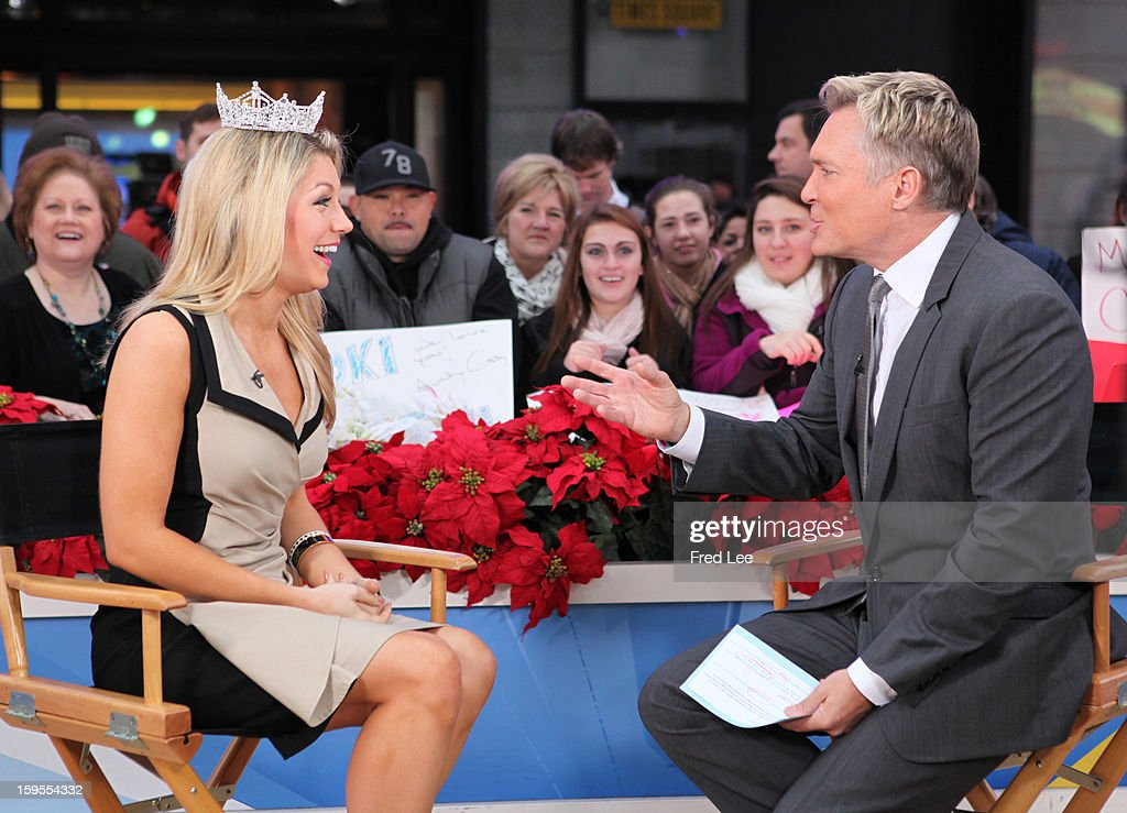 AMERICA - The newly crowned Miss America, Mallory Hagan appears on 'Good Morning America,' 1/14/13, airing on the ABC Television Network. (Photo by Fred Lee/ABC via Getty Images)MALLORY HAGAN, SAM CHAMPION