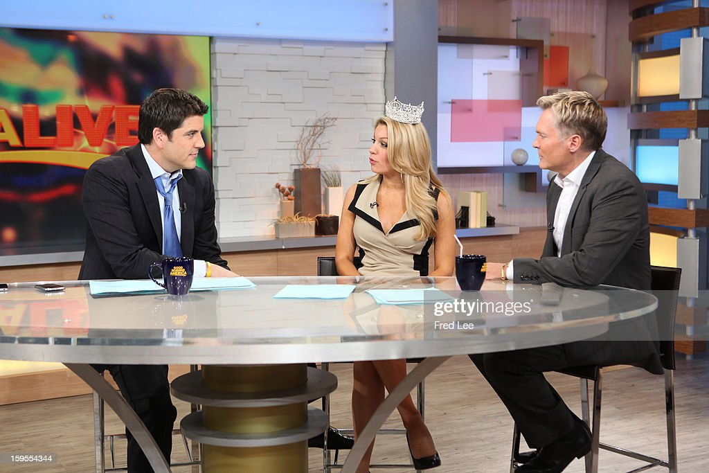 AMERICA - The newly crowned Miss America, Mallory Hagan appears on 'Good Morning America,' 1/14/13, airing on the ABC Television Network. (Photo by Fred Lee/ABC via Getty Images)JOSH ELLIOTT, MALLORY HAGAN, SAM CHAMPION