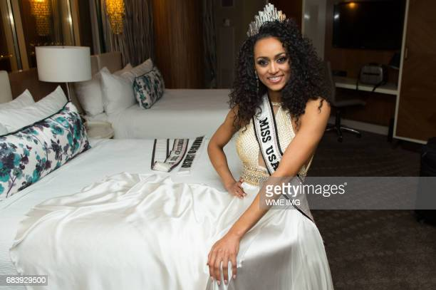 The newly crowned Miss USA 2017 Kára McCullough representing District of Columbia takes a quick break to pose with her crown at the Mandalay Bay...