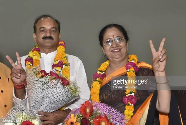 The Newly elected Mayor of East Delhi Municipal Corporation Neema Bhagat and Deputy Mayor Bipin Bihati Singh after the election at Udyog Sadan...