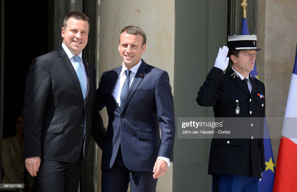 The newly elected president of France Emmanuel Macron receives Prime Minister Juri Ratas of Estonia at the Elysée Palace on June 16, 2017 in Paris, France.