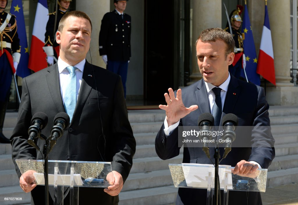 The newly elected president of France Emmanuel Macron receives Prime Minister Juri Ratas of Estonia at the Elysée Palace on June 16, 2017 in Paris, France. Both give a joint statement to the press.