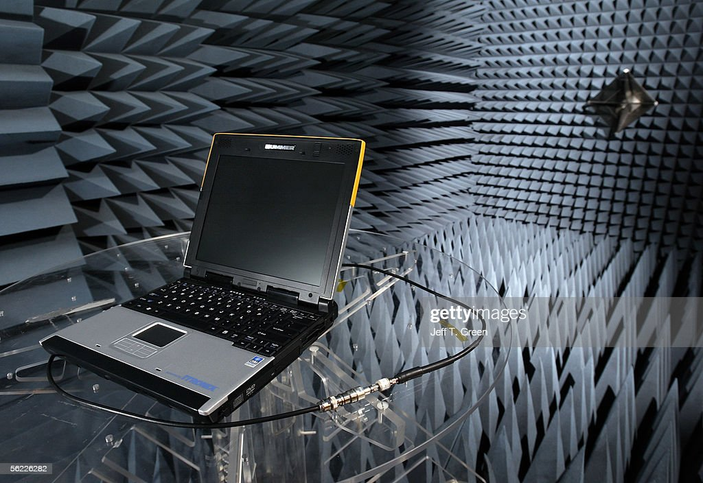 The newly introduced Hummer laptop in the RF (radio frequency) isolation test chamber at Itronix Corporation November 18, 2005 in Spokane, Washington. Hummer, a unit of General Motors Corporation, has partnered with rugged mobile-computing manufacture Itronix to bring the toughest semi-rugged notebook computer to market under the Hummer brand. The laptop is designed to meet a tough military standard (MIL-STD 810F) for vibration, temperature extremes, humidity, and provide excellent resistance to drops and spills. The Hummer laptop is a consumer variation of the new commercial Itronix GoBook VR-1 and will be available in three colors and sold through Hummer dealerships or online. It will only be available in the United States and Mexico under a licensing agreement with GM. Sales are exceeding expectations and an estimated 20,000 units are planned to be sold.