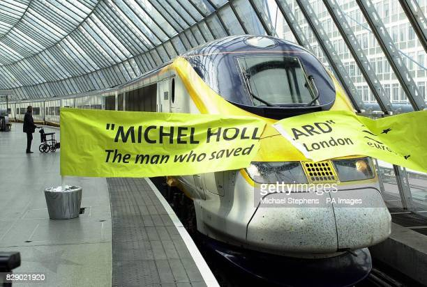 The newly named Eurostar train named Michel Hollard after a courageous Second World War spy who became known as 'the man who saved London' arrives at...