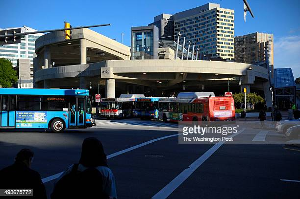 The newly opened Paul S Sarbanes Transit Center bustles with bus activity during the evening rush hour October 05 2015 in Silver Spring MD