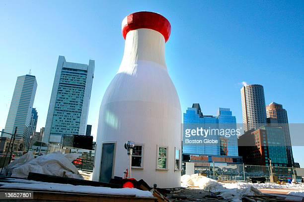 The newly rebuilt giant milk bottle in front of Boston Children's Museum on Congress Street in South Boston was unveiled today Wednesday March 21...