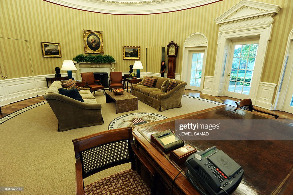 the newly redecorated oval office of the white house with