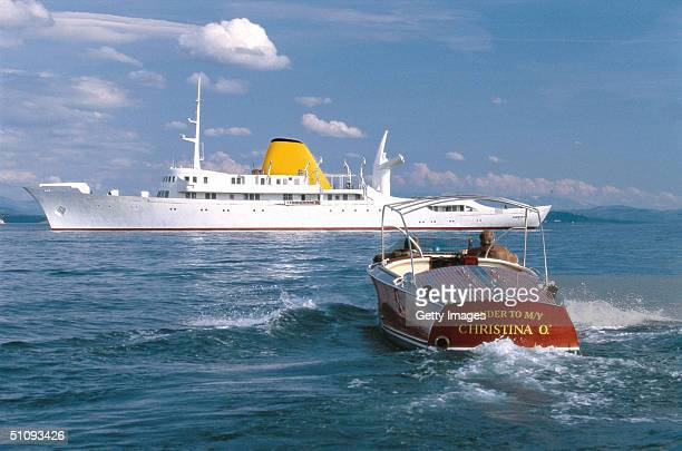 The Newly Restored Christina O Former Private Yacht Of Aristotle Onassis And Her Tender Cruise At Sea April 24 2001 In The Mediterranean The Yacht...
