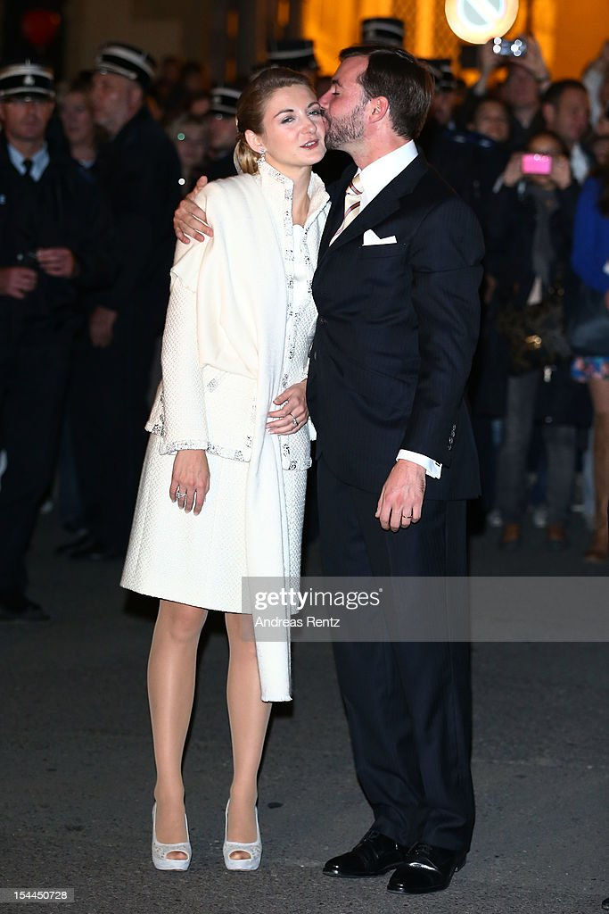 The newly wed couple Princess Stephanie of Luxembourg (L) and Prince Guillaume of Luxembourg (R) attend the fireworks performance following their wedding on October 20, 2012 in Luxembourg, Luxembourg. The 30-year-old hereditary Grand Duke of Luxembourg is the last hereditary Prince in Europe to get married, marrying his 28-year old Belgian Countess bride in a lavish 2-day ceremony.