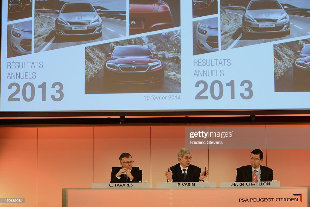 The newly-appointed CEO of French manufacturer PSA Carlos Tavares (L), Current chairman of PSA Peugeot-Citroen <a gi-track='captionPersonalityLinkClicked' href=/galleries/search?phrase=Philippe+Varin&family=editorial&specificpeople=3954311 ng-click='$event.stopPropagation()'>Philippe Varin</a> (C), and CFO PSA Peugeot-Citroen Jean Baptiste de Chatillon (R) during the French manufacturer PSA Peugeot-Citroen results press conference on February 19, 2014 in Paris, France.