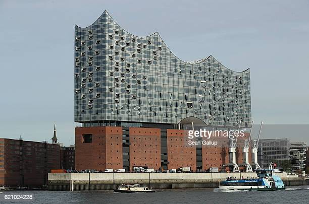 The newlycompleted Elbphilharmonie concert hall stands in the HafenCity district on the Elbe River on November 3 2016 in Hamburg Germany Designed by...