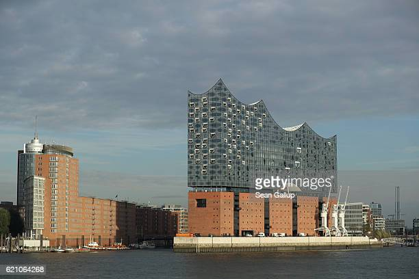 The newlycompleted Elbphilharmonie concert hall stands in the HafenCity district on the Elbe River on November 4 2016 in Hamburg Germany Designed by...