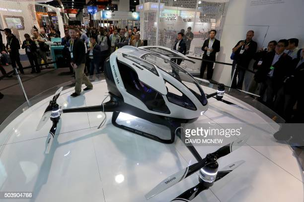 The newlylaunched EHang 184 AAV that can autonomously fly a human passenger programmed with an app is displayed at the CES 2016 Consumer Electronics...