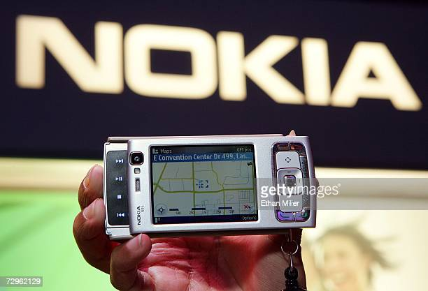 The newlylaunched Nokia N95 camera phone is displayed at the Las Vegas Convention Center during the 2007 International Consumer Electronics Show...