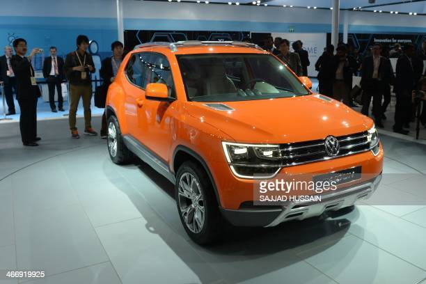 The newlyreleased Volkswagen Taigun is pictured at the 12th Auto Expo in Greater Noida on the outskirts of New Delhi on February 5 2014 AFP PHOTO/...