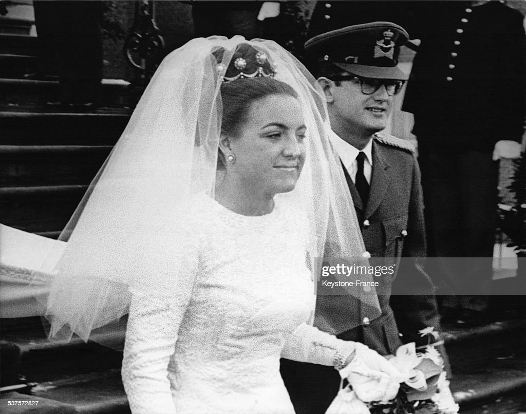 The newlywed, Princess Margriet and Pieter van Vollenhoven, leaving the Palace for the religious ceremony, on January 10, 1967 in The Hague, Netherlands.