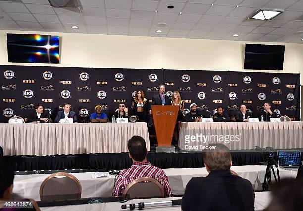 The news conference room during BKB 2 Big Knockout Boxing at the Mandalay Bay Events Center on April 4 2015 in Las Vegas Nevada