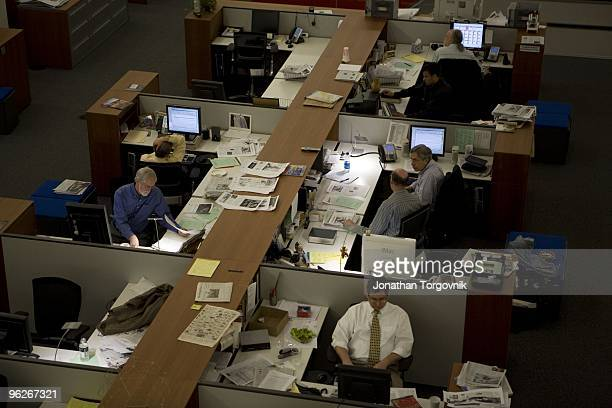 The newsroom at the New York Times building May 2008 in New York City The newsroom is mostly active from 6pm when the editors begin working on the...