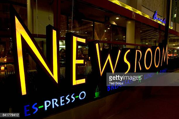 The Newsroom restaurant offers healthy food at reasonable prices and is located on Robertson Boulevard among trendy and highend stores