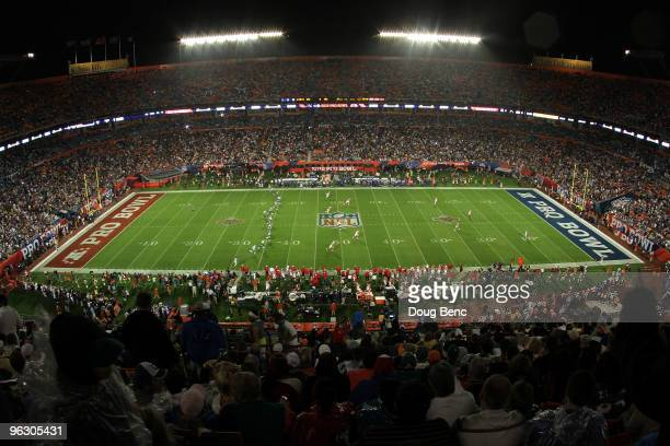 The NFC kicks the ball off to the AFC to start the 2010 AFCNFC Pro Bowl at Sun Life Stadium on January 31 2010 in Miami Gardens Florida