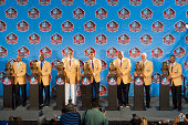 The NFL Class of 2014 Pro Football Hall of Fame after the Enshrinement Ceremony at Fawcett Stadium on August 2 2014 in Canton Ohio