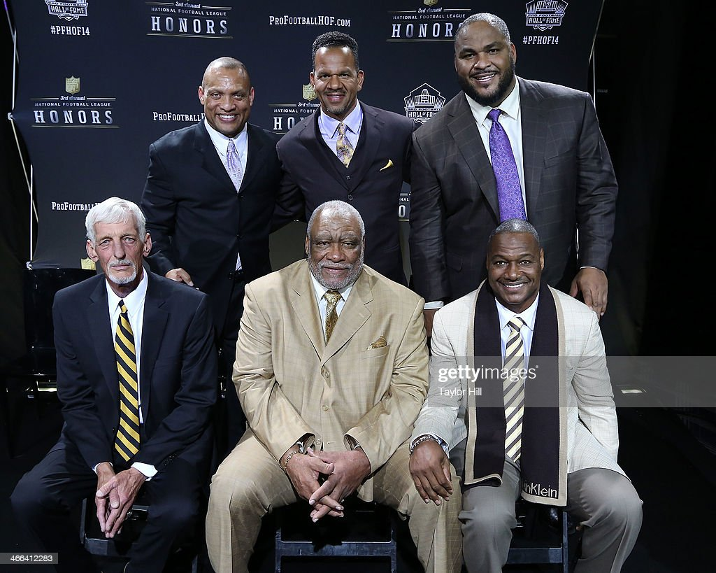 The NFL Honors present the Pro Football Hall of Fame Class of 2014 -- not pictured, Michael Strahan, and top row (L-R) <a gi-track='captionPersonalityLinkClicked' href=/galleries/search?phrase=Aeneas+Williams&family=editorial&specificpeople=215126 ng-click='$event.stopPropagation()'>Aeneas Williams</a>, <a gi-track='captionPersonalityLinkClicked' href=/galleries/search?phrase=Andre+Reed&family=editorial&specificpeople=578225 ng-click='$event.stopPropagation()'>Andre Reed</a>, and <a gi-track='captionPersonalityLinkClicked' href=/galleries/search?phrase=Walter+Jones+-+American+Football+Player&family=editorial&specificpeople=214530 ng-click='$event.stopPropagation()'>Walter Jones</a> and bottom row (L-R) <a gi-track='captionPersonalityLinkClicked' href=/galleries/search?phrase=Ray+Guy&family=editorial&specificpeople=2328780 ng-click='$event.stopPropagation()'>Ray Guy</a>, <a gi-track='captionPersonalityLinkClicked' href=/galleries/search?phrase=Claude+Humphrey&family=editorial&specificpeople=788587 ng-click='$event.stopPropagation()'>Claude Humphrey</a>, and <a gi-track='captionPersonalityLinkClicked' href=/galleries/search?phrase=Derrick+Brooks&family=editorial&specificpeople=209033 ng-click='$event.stopPropagation()'>Derrick Brooks</a> at the 3rd Annual NFL Honors at Radio City Music Hall on February 1, 2014 in New York City.