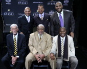 The NFL Honors present the Pro Football Hall of Fame Class of 2014 not pictured Michael Strahan and top row Aeneas Williams Andre Reed and Walter...