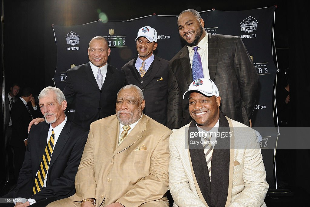 The NFL Honors present the Pro Football Hall of Fame Class of 2014 -- not pictured, Michael Strahan, and top row (L-R) <a gi-track='captionPersonalityLinkClicked' href=/galleries/search?phrase=Aeneas+Williams&family=editorial&specificpeople=215126 ng-click='$event.stopPropagation()'>Aeneas Williams</a>, <a gi-track='captionPersonalityLinkClicked' href=/galleries/search?phrase=Andre+Reed&family=editorial&specificpeople=578225 ng-click='$event.stopPropagation()'>Andre Reed</a>, and <a gi-track='captionPersonalityLinkClicked' href=/galleries/search?phrase=Walter+Jones+-+American+Football+Player&family=editorial&specificpeople=214530 ng-click='$event.stopPropagation()'>Walter Jones</a> and bottom row (L-R) <a gi-track='captionPersonalityLinkClicked' href=/galleries/search?phrase=Ray+Guy&family=editorial&specificpeople=2328780 ng-click='$event.stopPropagation()'>Ray Guy</a>, <a gi-track='captionPersonalityLinkClicked' href=/galleries/search?phrase=Claude+Humphrey&family=editorial&specificpeople=788587 ng-click='$event.stopPropagation()'>Claude Humphrey</a>, and <a gi-track='captionPersonalityLinkClicked' href=/galleries/search?phrase=Derrick+Brooks&family=editorial&specificpeople=209033 ng-click='$event.stopPropagation()'>Derrick Brooks</a> attend the 3rd Annual NFL Honors at Radio City Music Hall on February 1, 2014 in New York City.