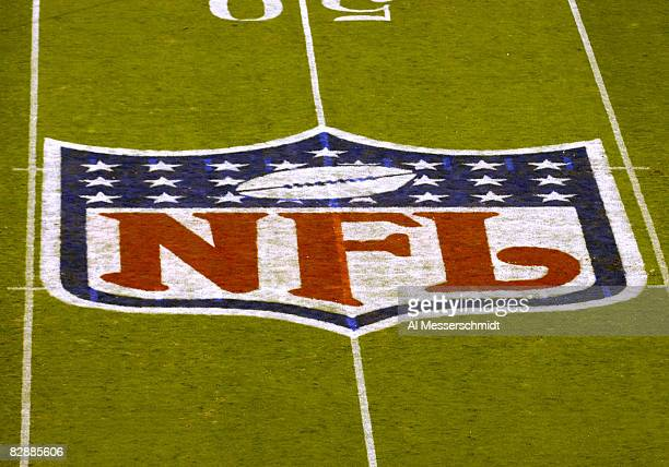 The NFL logo at midfield Nov 13 2006 as the Carolina Panthers host the Tampa Bay Buccaneers on ESPN Monday Night Football in Charlotte The Panthers...