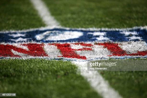 The NFL logo is seen painted on the playing field during an NFL football game between the New Orleans Saints and the Tampa Bay Buccaneers at Raymond...