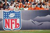 The NFL Logo is shown during the Denver Broncos game against the Jacksonville Jaguars at Invesco Field at Mile High on September 23 2007 in Denver...