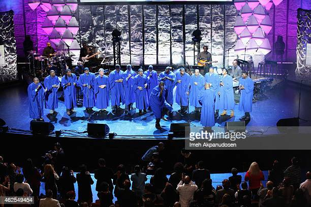 The NFL Players Choir performs onstage during 16th Annual Super Bowl Gospel Celebration at ASU Gammage on January 30 2015 in Tempe Arizona