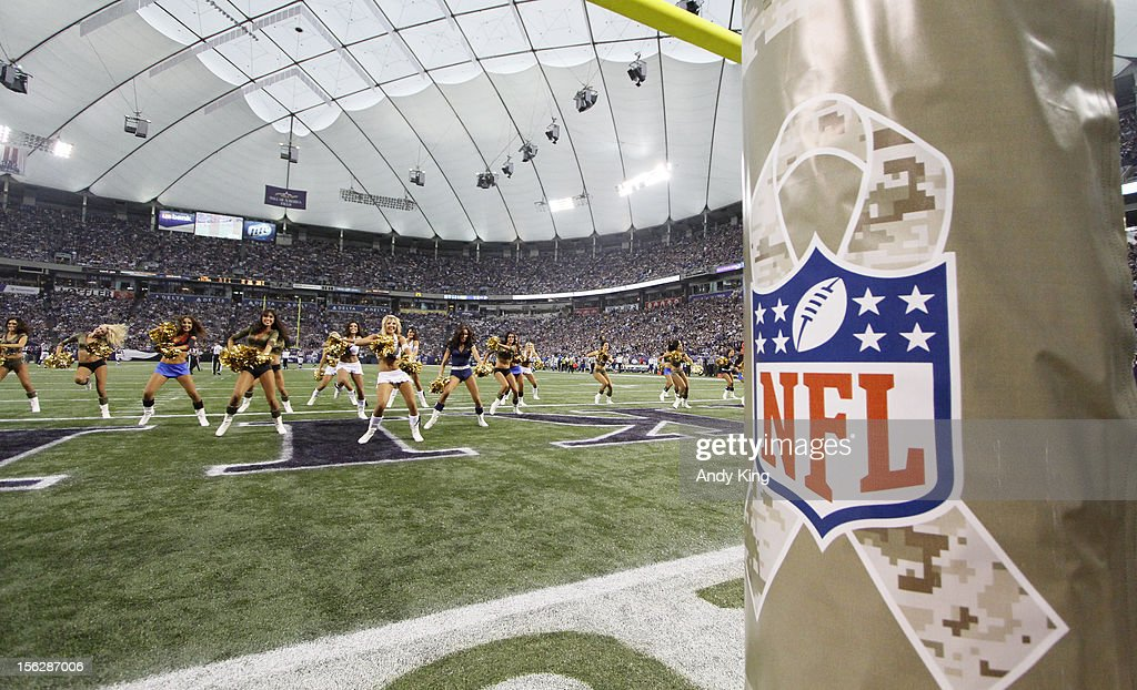 The NFL salutes the military on Veterans Day during a game between the Detroit Lions and the Minnesota Vikings on November 11, 2012 at Mall of America Field at the Hubert H. Humphrey Metrodome in Minneapolis, Minnesota.
