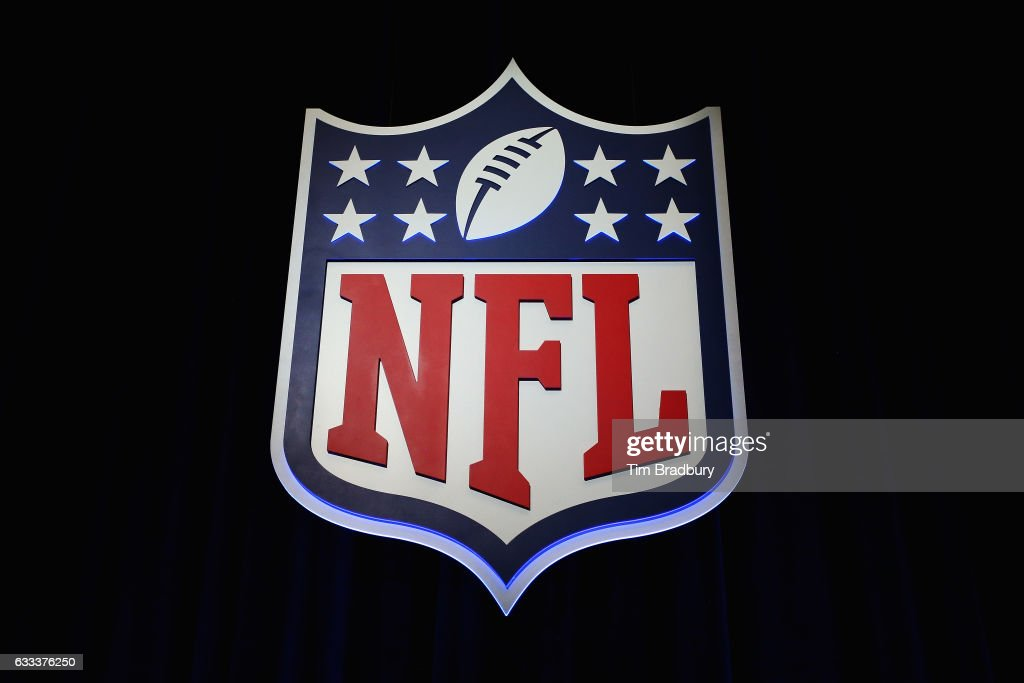 The NFL shield logo is seen following a press conference held by NFL Commissioner Roger Goodell (not pictured) at the George R. Brown Convention Center on February 1, 2017 in Houston, Texas.