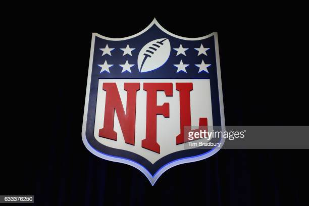The NFL shield logo is seen following a press conference held by NFL Commissioner Roger Goodell at the George R Brown Convention Center on February 1...